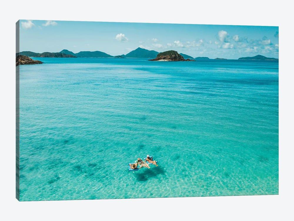 Summer Beach Girls Floating by James Vodicka 1-piece Art Print