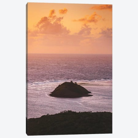 Sunset Colours Over Ocean With Island Canvas Print #JVO184} by James Vodicka Art Print