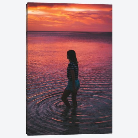 Sunset Girl Ocean Ripples Canvas Print #JVO185} by James Vodicka Canvas Print