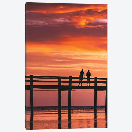 Sunset Island Jetty Silhouetted People Canvas Print #JVO186} by James Vodicka Canvas Print