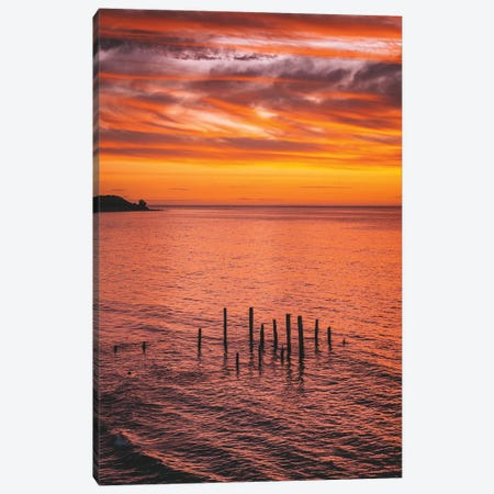 Sunset Jetty Pylons Canvas Print #JVO187} by James Vodicka Art Print