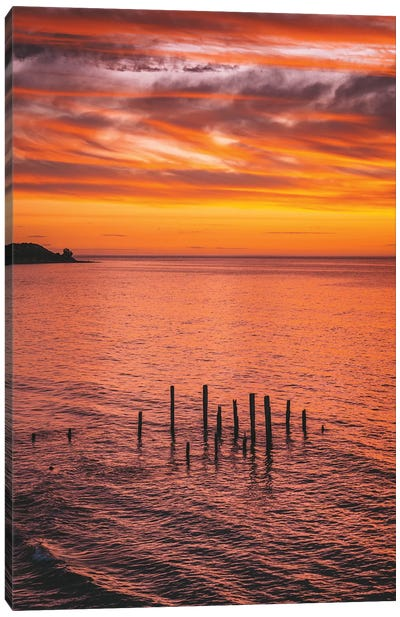 Sunset Jetty Pylons Canvas Art Print