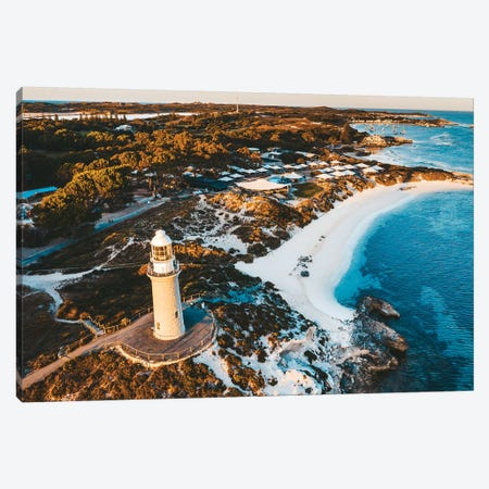 Sunset Lighthouse Beach Aerial Canvas Print #JVO188} by James Vodicka Canvas Art