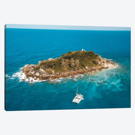 Tiny Island with Catamaran Canvas Print #JVO197} by James Vodicka Canvas Artwork