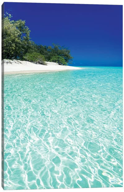 Tropical Island Blue Water Beach Landscape Canvas Art Print