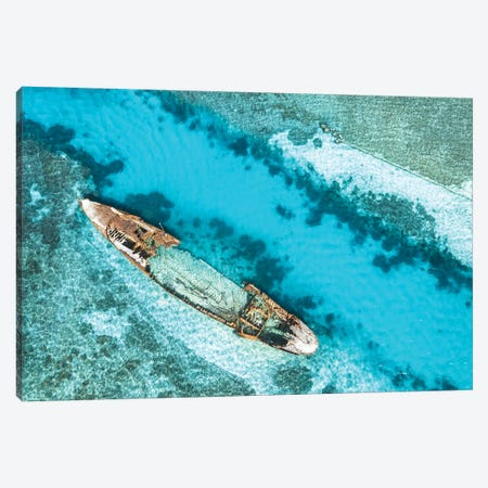Tropical Island Shipwreck Aerial Canvas Print #JVO204} by James Vodicka Canvas Art