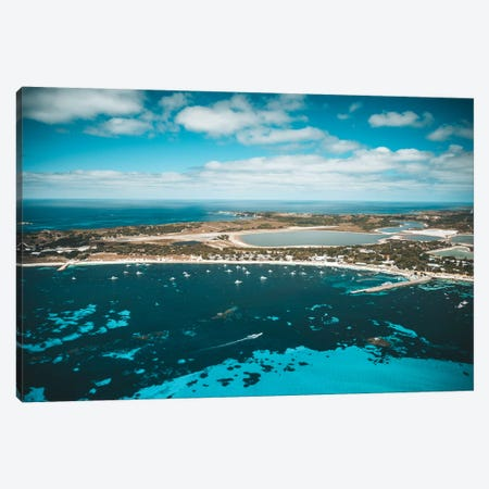 Turquoise Bay With Boats Canvas Print #JVO206} by James Vodicka Canvas Art