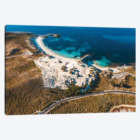 Turquoise Bays With Coastal Road Canvas Print #JVO207} by James Vodicka Canvas Wall Art