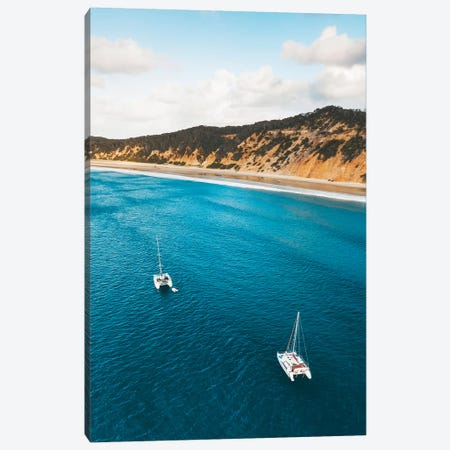 Coloured Sands Beach Boats Canvas Print #JVO29} by James Vodicka Canvas Artwork