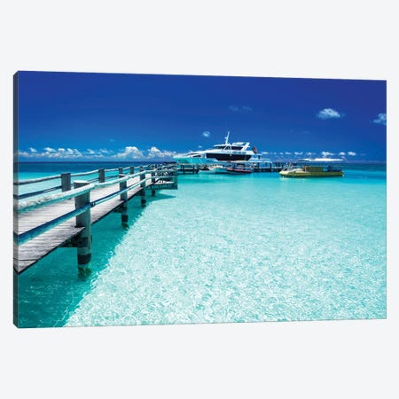 Heron Island Jetty with Ferry 3-Piece Canvas #JVO49} by James Vodicka Canvas Art