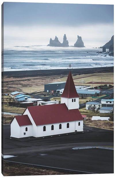 Icelandic Church Ocean View Canvas Art Print