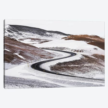 Icelandic Winter Road With Switchbacks 3-Piece Canvas #JVO61} by James Vodicka Canvas Art