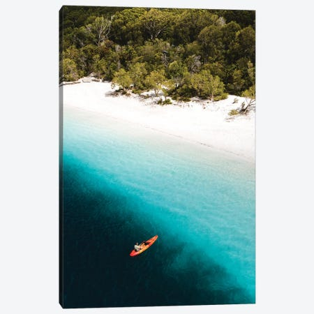 Kayaker Beach Lake Mckenzie (tall) Canvas Print #JVO75} by James Vodicka Canvas Art
