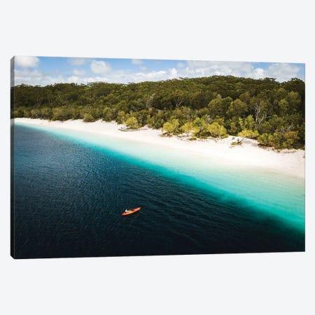 Kayaker Beach Lake Mckenzie (wide) Canvas Print #JVO76} by James Vodicka Canvas Artwork
