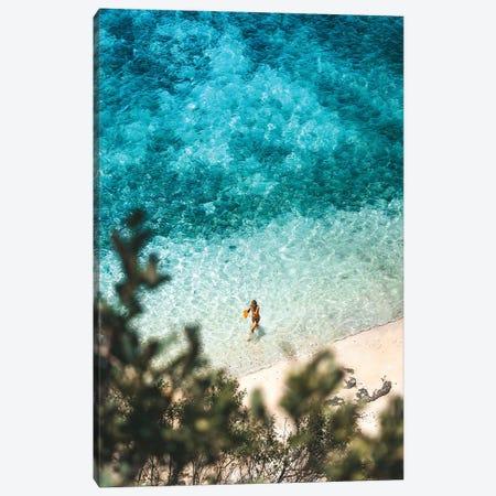 Lone Bikini Swimmer On Tropical Beach Canvas Print #JVO89} by James Vodicka Canvas Wall Art