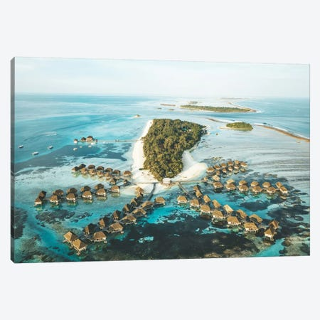 Maldives Island Aerial Overwater Bungalows Canvas Print #JVO93} by James Vodicka Canvas Art Print