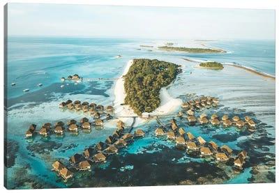 Maldives Island Aerial Overwater Bungalows Canvas Art Print