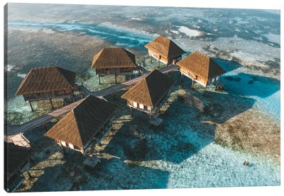 Maldives Overwater Bungalows Aerial Canvas Art Print