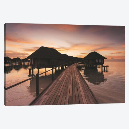 Maldives Overwater Bungalows Sunset Canvas Print #JVO95} by James Vodicka Canvas Artwork