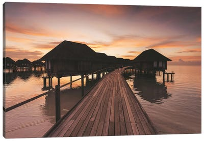 Maldives Overwater Bungalows Sunset Canvas Art Print