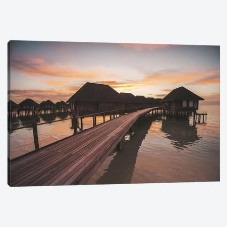 Maldives Overwater Bungalows Sunset 2 Canvas Print #JVO96} by James Vodicka Canvas Art