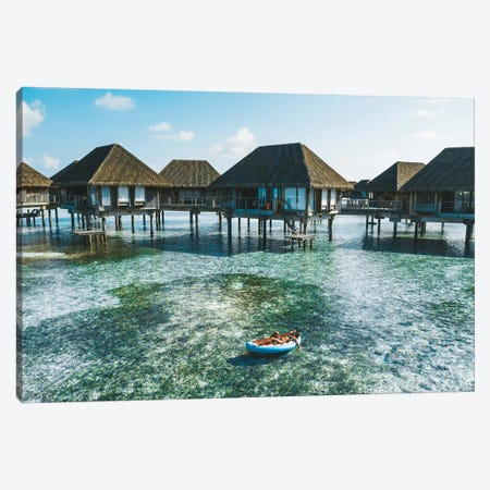 Maldives Resort Bungalows Girl Pool Float Canvas Print #JVO97} by James Vodicka Canvas Art