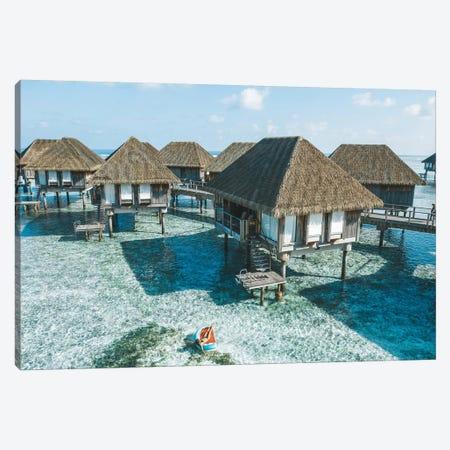 Maldives Resort Bungalows Girl Pool Float 2 Canvas Print #JVO98} by James Vodicka Art Print