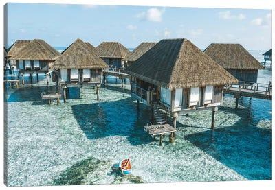Maldives Resort Bungalows Girl Pool Float 2 Canvas Art Print