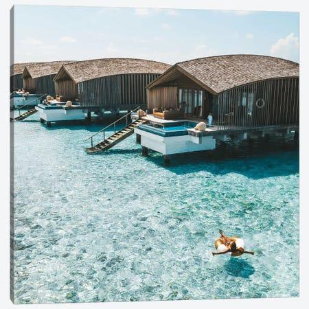 Maldives Resort Bungalows Girl Pool Ring Canvas Print #JVO99} by James Vodicka Art Print