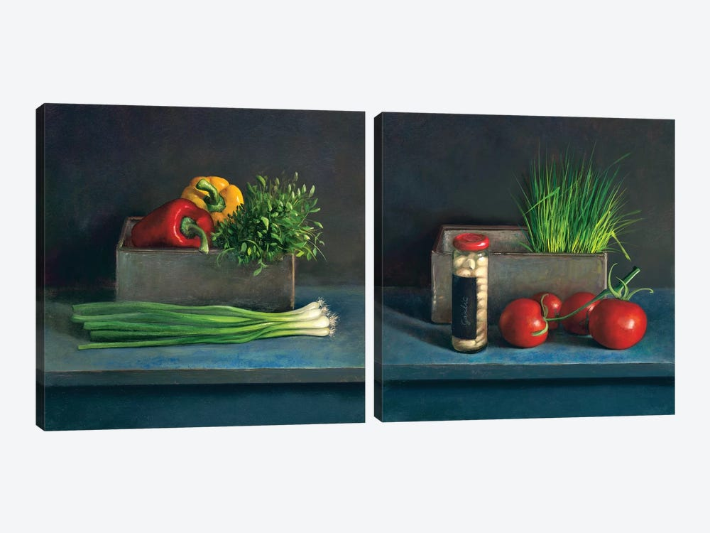 Still Life Diptych by Jos van Riswick 2-piece Canvas Wall Art