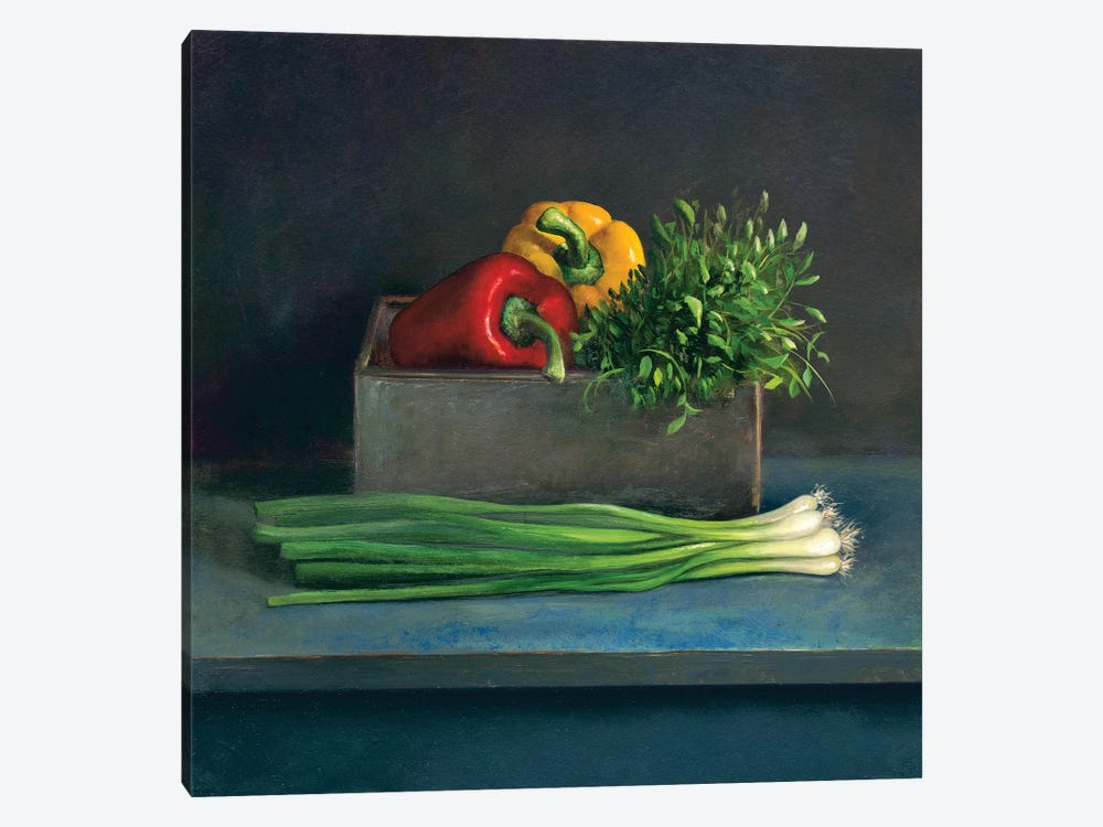 Still Life With Paprika by Jos van Riswick 1-piece Canvas Artwork