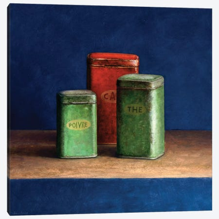 Tin Boxes I Canvas Print #JVR9} by Jos van Riswick Canvas Art