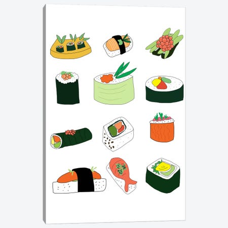 Sushi Set Canvas Print #JWE26} by Jan Weiss Canvas Art