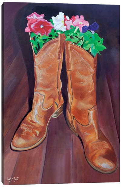 Grow Where You'Re Planted Boots Canvas Art Print