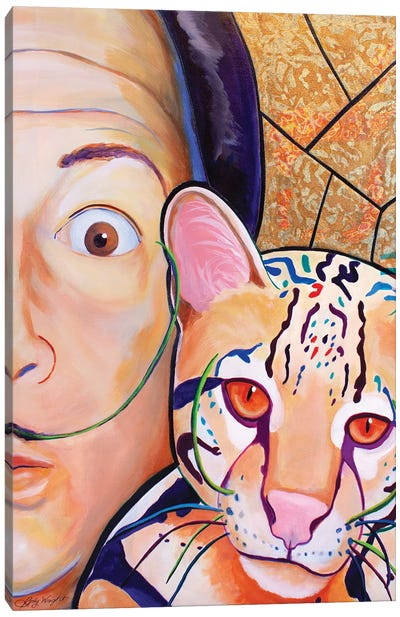 The Story Of Dali'S Painted Cat Canvas Art Print