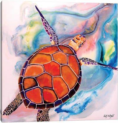 Coral Tranquility Sea Turtle Canvas Art Print