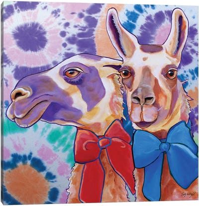 Lovely Llamas Tie Dye Canvas Art Print