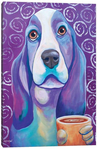 Caffeine Is Mandatory Basset Hound Canvas Art Print