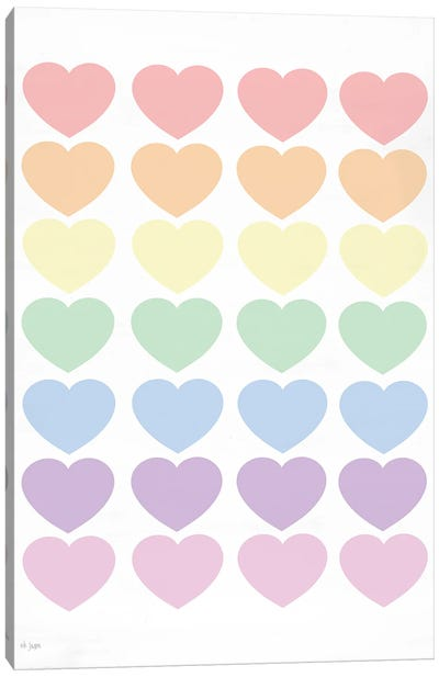 Pastel Hearts Canvas Art Print