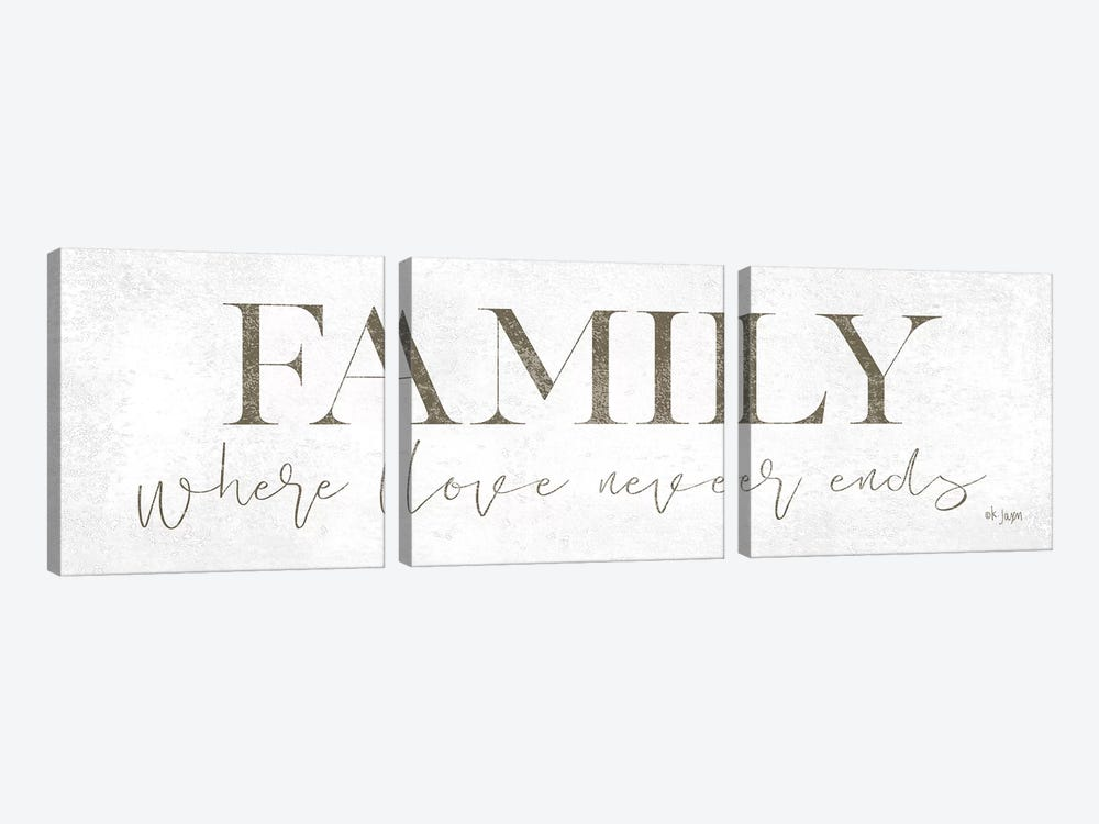 Family Where Love Never Ends by Jaxn Blvd. 3-piece Canvas Wall Art