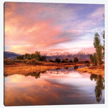 Usa, California, Bishop. Sierra Nevada Range Reflects In Pond. Canvas Print #JYG1003} by Jaynes Gallery Canvas Art Print