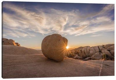 Usa, California, Joshua Tree National Park. Rocky Landscape At Sunset. Canvas Art Print