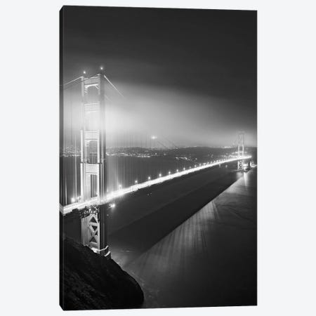 Usa, California, San Francisco. Black And White Of Golden Gate Bridge At Night. Canvas Print #JYG1009} by Jaynes Gallery Art Print