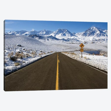 Usa, California. Road Into Sierra Nevada Mountains In Winter. Canvas Print #JYG1046} by Jaynes Gallery Canvas Art