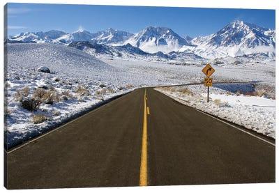 Usa, California. Road Into Sierra Nevada Mountains In Winter. Canvas Art Print