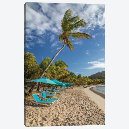 Caribbean, Grenada, Mayreau Island. Beach umbrellas and lounge chairs. Canvas Print #JYG1056} by Jaynes Gallery Art Print