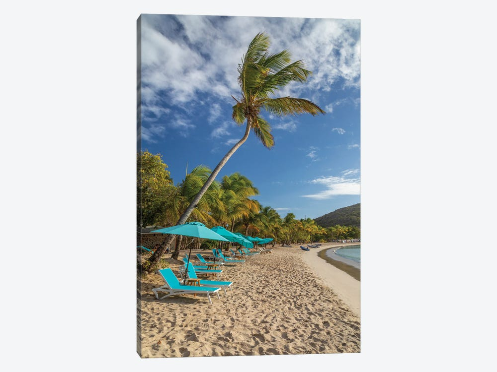 Caribbean, Grenada, Mayreau Island. Beach umbrellas and lounge chairs. by Jaynes Gallery 1-piece Canvas Art