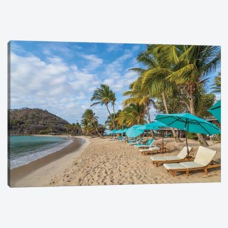 Caribbean, Grenada, Mayreau Island. Beach umbrellas and lounge chairs. Canvas Print #JYG1057} by Jaynes Gallery Art Print