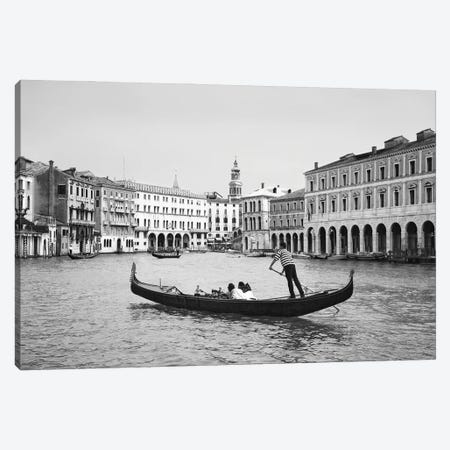 Europe, Italy, Venice. Black and white of gondolas plying Grand Canal. Canvas Print #JYG1058} by Jaynes Gallery Canvas Wall Art