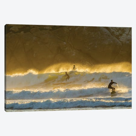 USA, California, San Luis Obispo County. Surfers at sunset. Canvas Print #JYG1061} by Jaynes Gallery Canvas Print